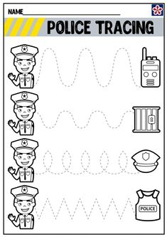 Community Helpers Crafts, Community Helpers Worksheets, Preschool Worksheets, Community Helpers Lesson Plan, Tracing Worksheets, Free Worksheets, Printable Worksheets, Free Printable, Police Activities