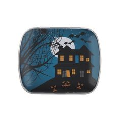 Halloween Candy - - - Haunted House Candy Tin filled with Jelly Belly™ jelly beans