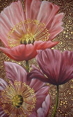 Three Pink Poppies by Cherie Dirksen. Poppies are one of my favorite painted flower. My grandmother painted some poppies for me. Art Floral, Silk Painting, Painting & Drawing, Wow Painting, Pattern Painting, Pink Poppies, Illustration Art, Illustrations, Painting Inspiration