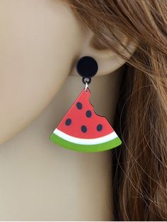 Kawaii Watermelon Stud Drop earrings - RED
