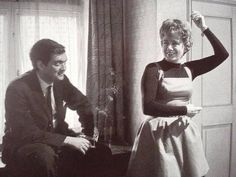 Stanley Kubrick and Shelley Winters on the set of Lolita (1962).