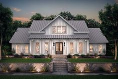 Sophisticated modern farmhouse - Open floor plan kitchen and great room space wi. , Sophisticated modern farmhouse - Open floor plan kitchen and great room space wi. Sophisticated modern farmhouse - Open floor plan kitchen and great. New House Plans, Dream House Plans, Dream Houses, Floor Plans For Houses, Farm Style Houses, House Plans With Porches, Family Home Plans, 2200 Sq Ft House Plans, Square House Plans