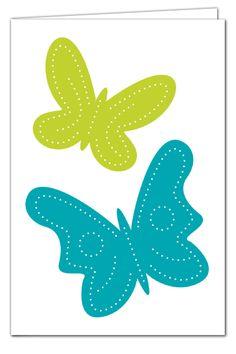 Grußkarte zum Prickeln - Schmetterlinge Türkis/Grün - mit farbigem Umschlag