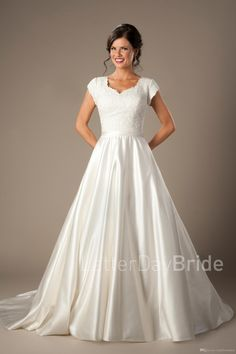 Vestido De Noiva Vintage Lace Satin Modest Wedding Dresses 2016 New With Cap Sleeves Buttons Simple Elegant Women Bridal Gowns Cheap On Sale Modern Wedding Dresses Pictures Of Wedding Dresses From Totallymodest, $112.81| Dhgate.Com