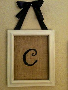 Burlap Initials In Picture Frames. $25.00, via Etsy.