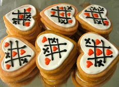 tic tac toe Valentines Day cookies