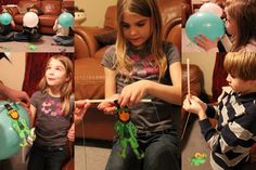 Racing Balloon Leprechauns!  Looks like a fun & silly St. Patrick's Day activity with the kiddos.