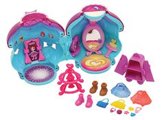 OMG like polly pocket! My Elle bell would love this!!!♡  Girls can dress up their Lum Lums in different outfits and accessories and then model their favorites in front of the light-up mirror. This set doubles as a nightlight when kids press the moon button.