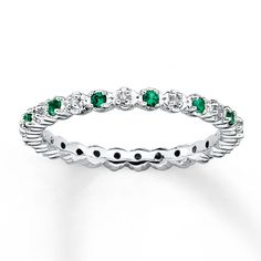 Stackable Ring Lab-Created Emeralds 1/20 ct tw Diamonds