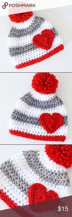 Heart beanie * Handmade item  * Material: acrylic yarn * Made to order * Ships from California  * Pet free / smoke free household * Can be made in various sizes & colors Accessories Hats