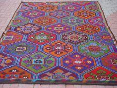 "VINTAGE Turkish Kilim Rug Carpet Cicim (Embroidered) Handwoven, Natural Goat Hair on Wool 84"" X 115"". $259.00, via Etsy."