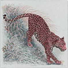 Panthera Pardus | 140 x 140 cm shawl 70 % cashmere 30 % silk | Designed by Robert Dallet | Ref. : H243012S 08 Gris Chine/Rose/Ardoise