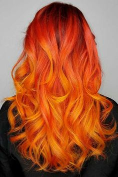 About Ombre Hair Ideas on the Trend: From natural brown and blond ombre hair to fabulous contrasts - All For Hair Color Trending Ombré Hair, Dye My Hair, New Hair, Blonde Hair, Orange Ombre Hair, Blond Ombre, Fire Hair Color, Cool Hair Color, Fire Ombre Hair