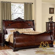 Traditionally styled bedrooms require a sense of grandeur, and the Bellefonte Sleigh Bedroom Collection by Furniture of America meets the requirement fully. The sleigh bed has carved headboard and footboard. Bedroom Furniture Sets, Bedroom Sets, Bedrooms, Sleigh Beds, Queen Bedroom, Master Bedroom, Bedroom Night Stands, Upholstered Platform Bed, Platform Beds
