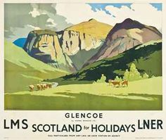 Vintage Travel Poster Scotland Glencoe Scottish Highlands