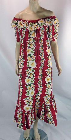 81f27efbe58aa0 Royal Hawaiian Creations Muu Muu Dress M Ruffles Off Shoulder Aloha Hibicus  USA