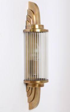 Art Déco Wandleuchte PETIO II von Art Nouveau Lamps: Wandleuchte mit Glasstäben à la Petitot: Modell 1 in Alt-Messing Casa Art Deco, Arte Art Deco, Motif Art Deco, Estilo Art Deco, Art Deco Decor, Art Deco Design, Lamp Design, Decoration, Design Design