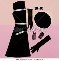 Black Vintage Dress and Accessories. Mademoiselle style. Gloves, glasses, Hat. Retro Glam Top view
