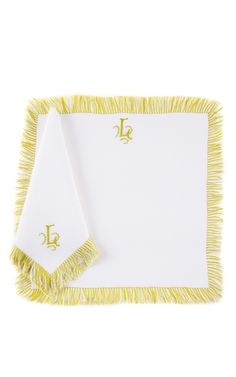 Julia B. Couture Linens - Julia B. Frange Dinner Napkin And Placemat Set In Chartreuse