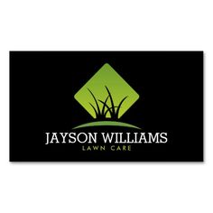 Modern Lawn Care/Landscaping Grass Logo II Double-Sided Standard Business Cards (Pack Of 100)