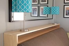 How to make a DIY console table bookshelf to sit between the sofa and wall making the perfect spot for a pair of table lamps and a great place to stash books.