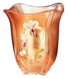 fenton orchids | FENTON ART GLASS ~ Golden Orchid on Marigold square vase.