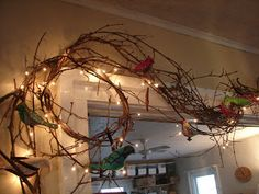 Cottage Making Mommy: lighted grapevine with birds