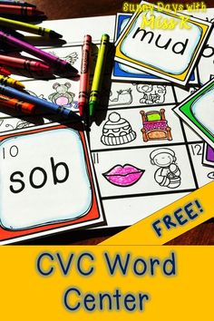 Kindergarten CVC Word Center – CVC Word Literacy Center This FREE kindergarten literacy centers is a fantastic activity to practice CVC Words. Use this freebie during literacy centers, guided reading, or morning tubs! Literacy Stations, Literacy Activities, Literacy Centers, Letter Activities, Reading Activities, Guided Reading Lessons, Teaching Reading, Learning, Reading Resources