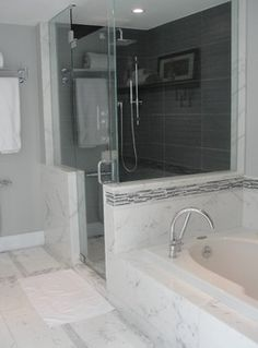 Would choose a different time color, but like how it comes up around the tub wall.