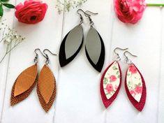 Joanna leather leaf earrings Brown leaf earrings Genuine leather earrings Pink leather earring teardrop Black leaf leather earrings