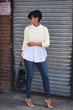 Chic in the City  Outfit:: Jeans Jbrandjeans//Top Kyrz's Closet {Coming Soon} Pumps Christian Louboutins//Handbag Brandon Blackwood//Sunglasses Shop Style Haven Kyrzayda