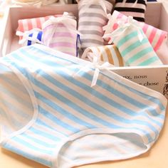Small fresh stripes Navy bow Lovely Ladies Underwear Panties cotton underwear female 520