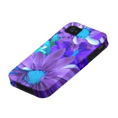 Purple N Turquiose Bouquet iPhone 4 Case from Zazzle.com
