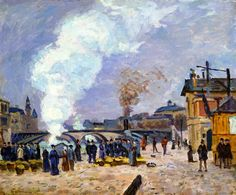 The Athenaeum - GUILLAUMIN, Armand French Impressionist (1841-1927)_Market Scene on the Quays of Paris- 1874