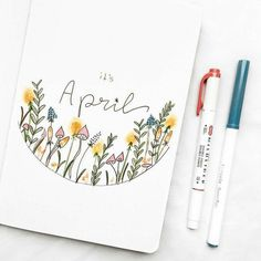 monthly_bujo on Aprils almost over but this cover needs to be posted so niceee! Beautiful cover by by.desi - Use the code MONTHLYBUJO for 10 Bullet Journal School, April Bullet Journal, Bullet Journal Cover Ideas, Bullet Journal Writing, Bullet Journal Aesthetic, Bullet Journal Ideas Pages, Bullet Journal Layout, Bellet Journal, Kalender Design