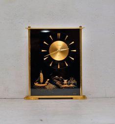 Mantel Clocks, Mantle, Zen Art, Fuji, Black Gold, Mid Century, Scene, Number 8, Japanese
