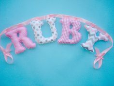 Girls Personalized name Banner fabric by LittleFairyCottage