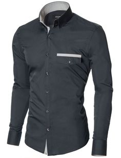 MODERNO Slim Fit Freizeit Herrenhemd (MOD1413LS) Dunkelgrau