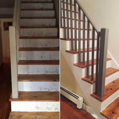 a good putty color for exterior stucco: Ralph Lauren Brimfield (on railing) Our DIY Stair Makeover: Paint + Runner Stair Decor, Diy Stair, Beach Stairs, Paint Runner, Black Staircase, Hardwood Stairs, Staircase Makeover, Condo Remodel, Weekend House