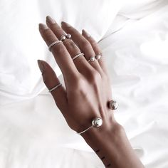 @opalescentreign ⇴✾. silver. delicate. rings. bracelet. 2016. trend. trends. hand.