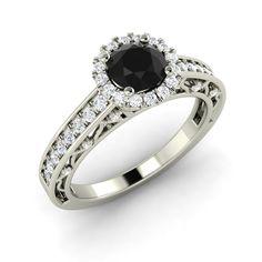 0.85 Ct Natural Black & SI Diamond Engagement Wedding Women's Ring Free Sizing | eBay