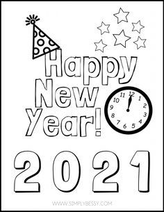 Happy New Year Images, Happy New Year 2018, New Year Coloring Pages, Coloring Pages For Kids, Adult Coloring, New Year's Eve Colors, New Year's Eve Crafts, New Year Printables, New Year's Eve Activities