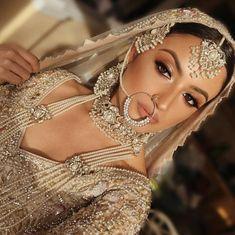 Asian Bridal Dresses, Fancy Wedding Dresses, Asian Wedding Dress, Pakistani Formal Dresses, Indian Bridal Outfits, Pakistani Wedding Dresses, Desi Bridal Makeup, Pakistani Bridal Makeup, Bridal Makeup Looks