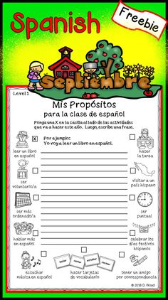Actividades para septiembre: This is a FREEBIE printable from my Spanish…