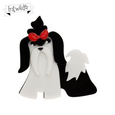 Limited edition, original Erstwilder Shona Shih Tzu brooch in black. Designed by Louisa Camille Melbourne. Dog Jewelry, Resin Jewelry, Jewellery, Quirky Gifts, Shih Tzus, All That Glitters, Cat Design, Xmas Gifts, Spring 2014