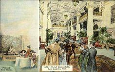 The Alexandria Hotel lobby, circa 1910-1912. (Bizarre Los Angeles)