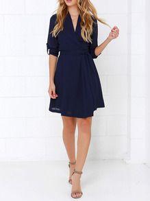 robe col V -bleu marine -French SheIn(Sheinside)