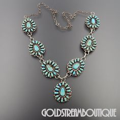 VINTAGE NAVAJO SIGNED PB STERLING SILVER TURQUOISE PETIT POINT CLUSTER NECKLACE