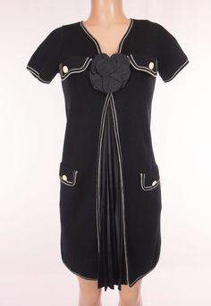MISSONI M Knit Dress S Small Black Cream Flower Front Satin Pleat Career Office #MissoniM #SweaterDress #WeartoWork