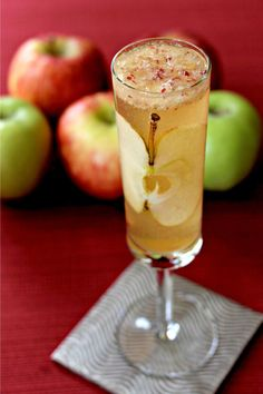 Apple Bourbon Bellini uses fresh apple puree in the cocktail. Mixed with bourbon and prosecco, and you've got a winner!